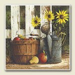 Apple in Basket with Sunflowers ~ Artworks Home Accents ~ Absorbastone Tile Trivet