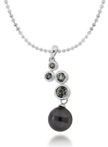 Silver Black Diamond and Grey Pearl Drop Necklace 46cm/18
