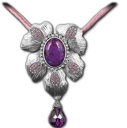 Retro Women's Queen's Style Luxury Natural Tourmaline Amethyst Palace 925 Sterling Silver Thai Silver Pendant Necklace Global Limited Edition of Only 1