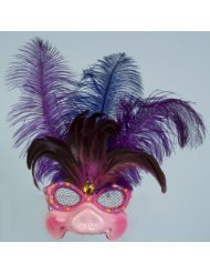 Forum Mardi Gras Costume Masquerade Half Mask Gorgeous Lady Pig With Feathers