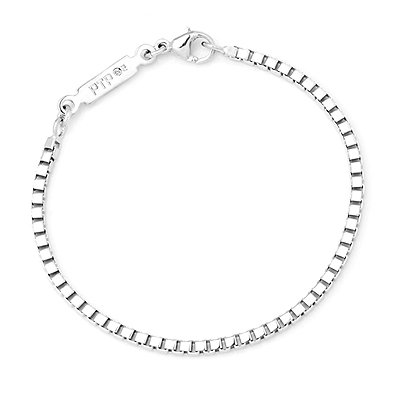 Platinum Plated 925 Sterling Silver Box Style Unisex Bracelet (7