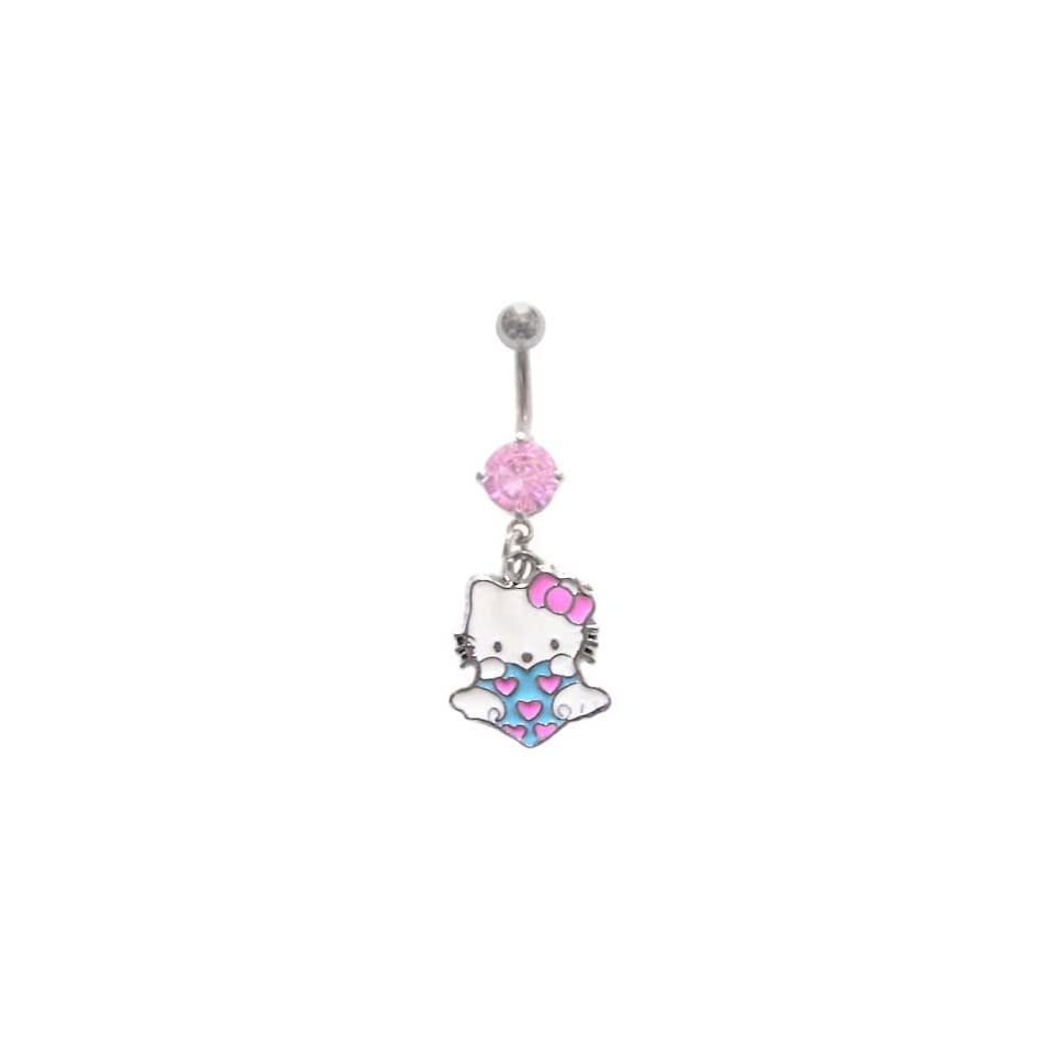 Pink Hello Kitty Aqua Heart w/ Wings & pink hearts dangle Belly navel