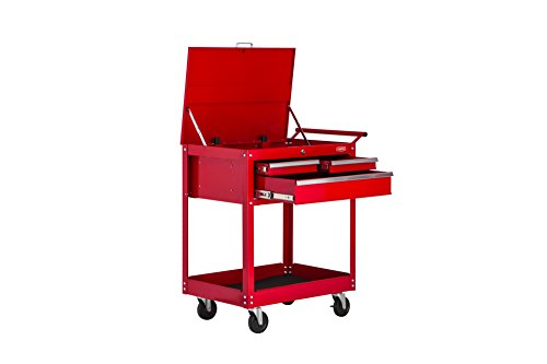Handyman Metal Rolling Tool Cart 3 Drawer Tool Chest Cabinet Storage Tool Box with Locks – Color Red
