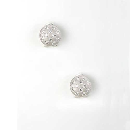 C.Z. Round Botton Matte Plated (.925) Sterling Silver Earrings (Nice Holiday Gift, Special Black Firday Sale)