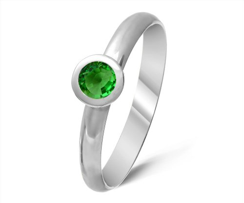 Timeless 9 ct White Gold Ladies Solitaire Engagement Ring with Tsavorite 0.40 ct
