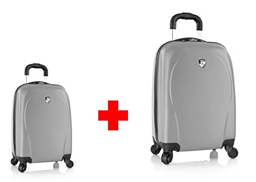 20-Euro-Rabatt--PREMIUM-DESIGNER-Hartschalen-Kofferset-2-tlg-Heys-Core-XCase-Spinner-Silber-Handgepck-Trolley-mit-4-Rollen-Gross