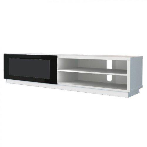 meubles tv de conti stile 1 blanc meuble hi fi avec vitre coulissante. Black Bedroom Furniture Sets. Home Design Ideas