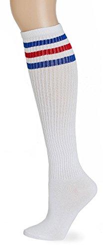 Leotruny Classic Triple Stripes Knee High Tube Socks (White/Blue/Red)