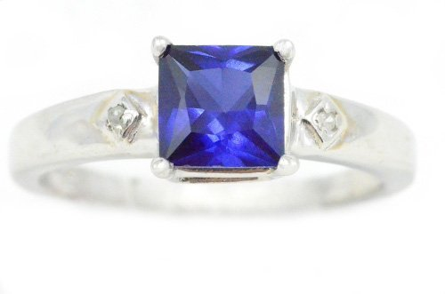 Created Blue Sapphire & Diamond Princess Cut Ring .925 Sterling Silver Rhodium Finish (Elizabeth Jewelry Inc Sapphire compare prices)