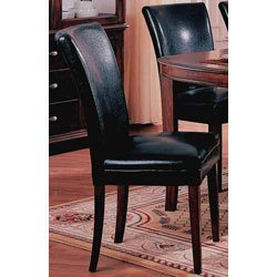 Set of 2 dolce style parson dining chairs in for Black leather parsons chairs