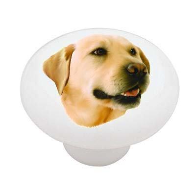 Yellow Labrador Decorative High Gloss Ceramic Drawer Knob