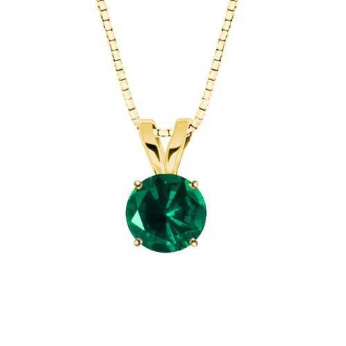 10k Yellow Gold 6mm Round Created Emerald Gemstone Pendant Necklace (0.80 ct), 18