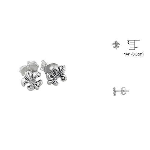 Sterling Silver Miniature Fleur de Lis Stud Earrings