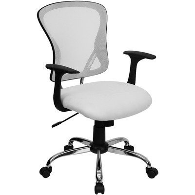 Flash Furniture Mid-Back White Mesh Office Chair with Chrome Finished Base