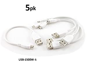 CablesOnline 5-PACK 6 inch USB 2.0 A-Type Male to Micro-B Male Charge & Sync Cable, White (USB-1500W-5)