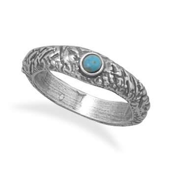 Oxidized Textured Turquoise Ring/ Size 6