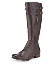 Autograph Leather Wide Fit Strap Riding Boots with Stretch Zip