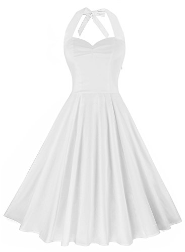 Anni Coco Women's Marilyn Monroe 1950s Vintage Halter Swing Tea Dresses Creamy White XX-Large