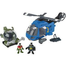 Fisher Price Imaginext Batman Helicopter Vehicle Gift Set with Batman and Robin Figures
