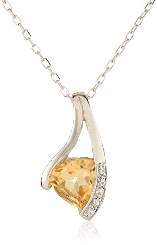 Sterling Silver Citrine Pendant Necklace, 18