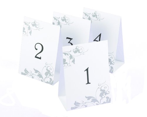 Hortense B. Hewitt Wedding Accessories Tent Style Table Numbers 1 Through 40, Black Ink on White with Gray Flourish