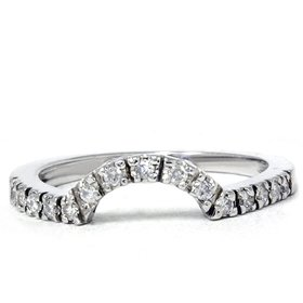 .25CT Curved Diamond Notched Wedding Ring Enhancer 14K