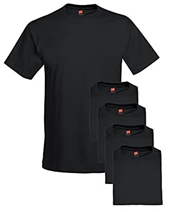Hanes Comfort Soft Crew Neck Tee (Pack of 5), Black, Small