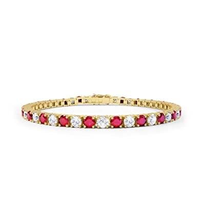 Stardust Ruby and Diamond Silver Tennis Bracelet (GOLD)