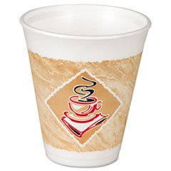 Dart 8X8G Café G Foam Hot/Cold Cups, 8oz, White w/Brown & Green (Case of 1000) (8 Ounce Disposable Coffee Cups compare prices)