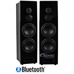 Limitless Creations RADIANT2B (Black) Dual 6 3-way Bluetooth Floor-Standing Speakers w/Line-In Mic-Input & 3.5mm Aux-In