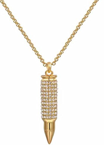 SaySure - 14K Gold Plated Stellux Crystals 18Kgolden Bullet necklace