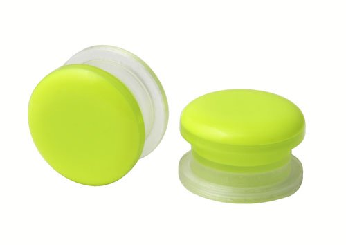 Pair of Acrylic Lime Button Style Design - Screw ON Ear Plugs - 9/16