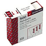 Smead BCCR Bar-Style Color-Coded Alphabetic Label, T, Label Roll, Red, 500 labels per Roll, (67090)