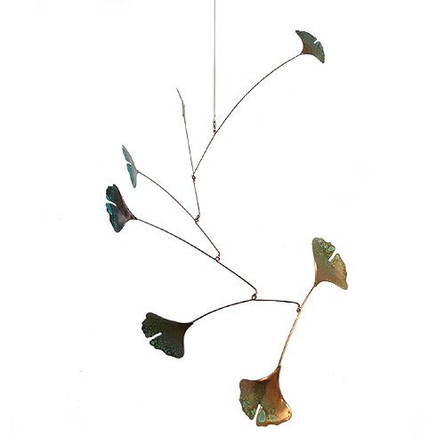 Copper Ginkgo Leaves Spinning Mobile for Indoor or Outdoor, Standard 7-Leaf Version (Art Mobiles compare prices)