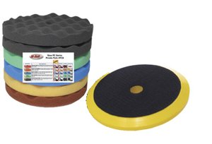Hi-Tech Industries HTFC-6P 8 in. Assorted Waffle Polishing Pads with Velcro Holder