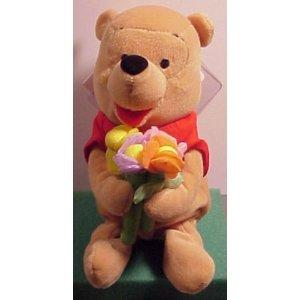 Winnie the Pooh Bean Bag Plush holding Flower Pooh - 1