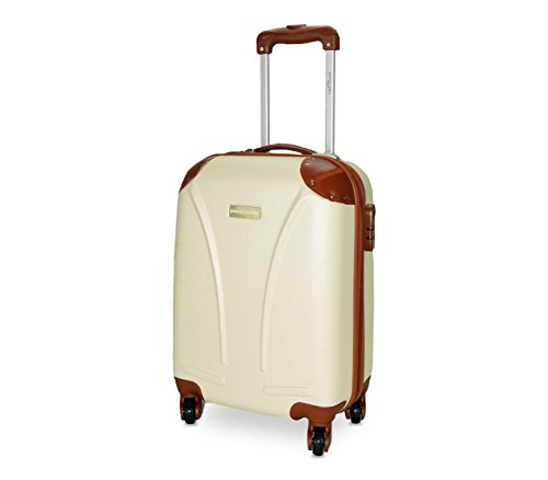 DFS512 Trolley rigido Pierre Cardin in ABS 4 ruote girevoli 48x34x20 cm. MEDIA WAVE store (Beige)