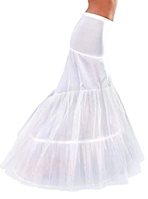EnjoyBuys 3 Hoops White Petticoats Underskirt Slip Mermaid Fishtail For Wedding Dress