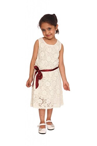 Fashion Rediscover Fashion Girl's Cotton Crochet Dress(RCK-FR-05) (Multicolor)