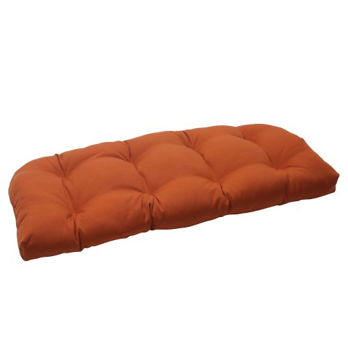 Pillow Perfect Indoor/Outdoor Cinnabar Wicker Loveseat Cushion, Burnt Orange picture