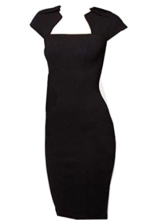 WIIPU fashion Square Neck party Rockabilly Bodycon Business Pencil Dress (WP-57) (L, black)