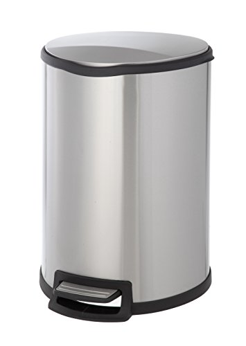 HomeZone VA41305A 45-Liter Stainless Steel Semi-Round Step Trash Can (Trash Can 13 Gallon Semi Round compare prices)
