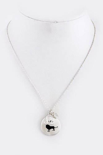 [THE JEWEL RACK LEO CHARM NECKLACE (Silver)] (Lobster Claw Costume Pattern)