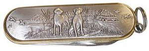 Labrador Retriever Pair Silver Pocket Knife