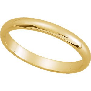 Genuine IceCarats Designer Jewelry Gift 10K Yellow Gold Wedding Band Ring Ring. 02.50 Mm Half Round Band In 10K Yellowgold Size 8.5