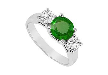 Sterling Silver Emerald and Cubic Zirconia Three Stone Ring 1.25 CT TGW MADE IN USA