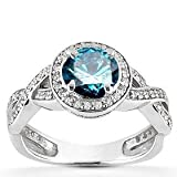 1.00CT Pave Halo Blue Diamond Engagement Ring 14K White Gold