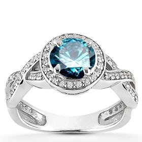 1.00CT Pave Halo Blue Diamond Engagement Ring