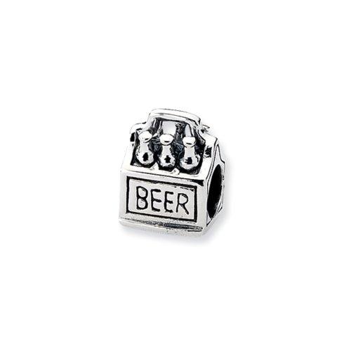 Sterling Silver 6-pack Beer Charm for 3mm Charm Bracelets