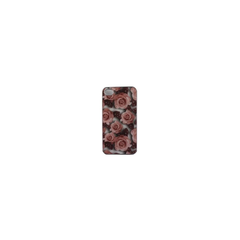 Apple iPhone i Phone 4G 4 G / 4S 4 S 2 D Transparent Silver with Hot Pink Rose Floral Flowers Pattern Design Back Snap On Hard Protective Cover Case Cell Phone